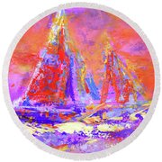 Festive Sailboats 11-28-16 Round Beach Towel