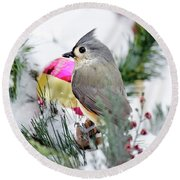 Festive Titmouse Bird Round Beach Towel by Christina Rollo