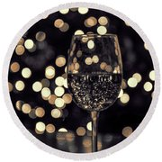 Round Beach Towel featuring the photograph Festive White Wine by Steven Sparks
