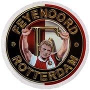 Feyenoord Rotterdam Painting Round Beach Towel by Paul Meijering