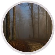 Foggy Morning In The Forest Round Beach Towel