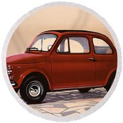 Fiat 500 1957 Painting Round Beach Towel