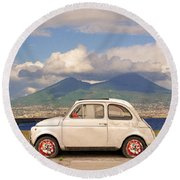 Fiat 500 Pizza Round Beach Towel