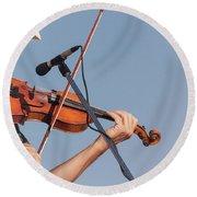 Fiddler On Blue Round Beach Towel