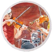 Round Beach Towel featuring the painting Fiddles by Karen Ilari