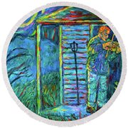 Fiddling At Midnight's Farm House Round Beach Towel