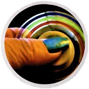 Round Beach Towel featuring the photograph Fidgets by Denise Fulmer