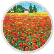 Field And Poppies Round Beach Towel