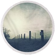 Field Beyond The Fence Round Beach Towel