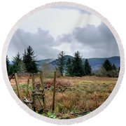 Round Beach Towel featuring the photograph Field, Clouds, Distant Foggy Hills by Chriss Pagani