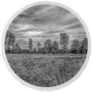 Round Beach Towel featuring the photograph Field Gaeddeholm  Bw by Leif Sohlman