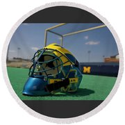 Field Hockey Helmet Round Beach Towel