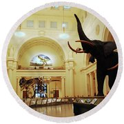 Round Beach Towel featuring the photograph Field Museum by James Kirkikis