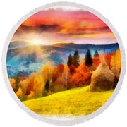 Field Of Autumn Haze Painting Round Beach Towel