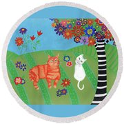 Field Of Cats And Dreams Round Beach Towel