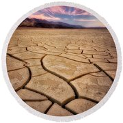Field Of Cracks Round Beach Towel
