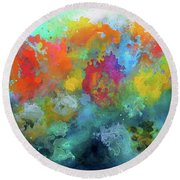 Field Of Flowers. Painting. Round Beach Towel