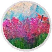 Field Of Flowers W Firefly Round Beach Towel