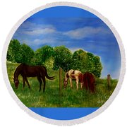 Field Of Horses' Dreams Round Beach Towel