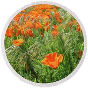 Round Beach Towel featuring the mixed media Field Of Orange Poppies- Art By Linda Woods by Linda Woods
