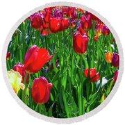 Tulip Garden Round Beach Towel