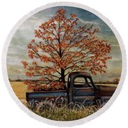 Field Ornaments Round Beach Towel by Judy Kirouac