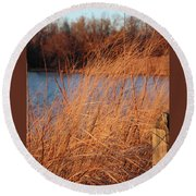 Amber Brush On The River Round Beach Towel