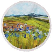 Field With Flowers Round Beach Towel