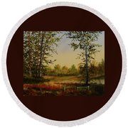 Fields And Trees Round Beach Towel