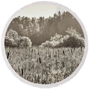 Fields Of Bulrush Round Beach Towel