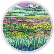 Fields Of Flowers Round Beach Towel