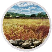 Fields Of Gold Round Beach Towel by Stephan Grixti