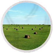 Fields Of Green Round Beach Towel by Mark Mickelsen