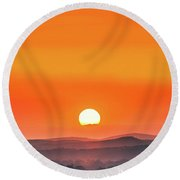 Fields Of Haze Round Beach Towel