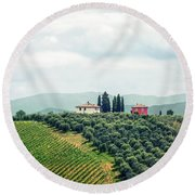 Fields Of Heavenly Delights Round Beach Towel