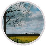 Fields Of Yellow Round Beach Towel