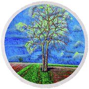 Field.tree Round Beach Towel