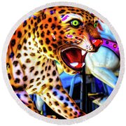 Fierce Cheetah Round Beach Towel