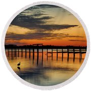 Round Beach Towel featuring the photograph Fiery Beginning by Norman Peay