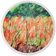 Fiery Bushes Round Beach Towel by Esther Newman-Cohen