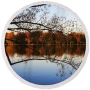 Fiery Colors On The Lake Round Beach Towel