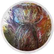Fiery Earth Latte Stone Round Beach Towel