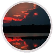 Fiery Evening Round Beach Towel
