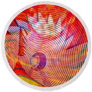 Round Beach Towel featuring the photograph Fiery Ferris Wheel by David Lee Thompson