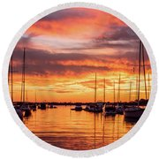 Fiery Lake Norman Sunset Round Beach Towel