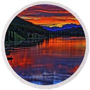 Round Beach Towel featuring the photograph Fiery Lake by Scott Mahon