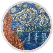 Fiery Night Round Beach Towel