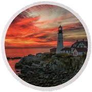Fiery Sunrise At Portland Head Light Round Beach Towel