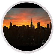 Round Beach Towel featuring the photograph Fiery Sunset New York With Chrysler And Empire State Buildings by Miriam Danar