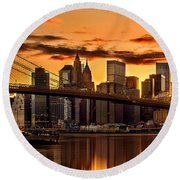 Fiery Sunset Over Manhattan  Round Beach Towel by Az Jackson